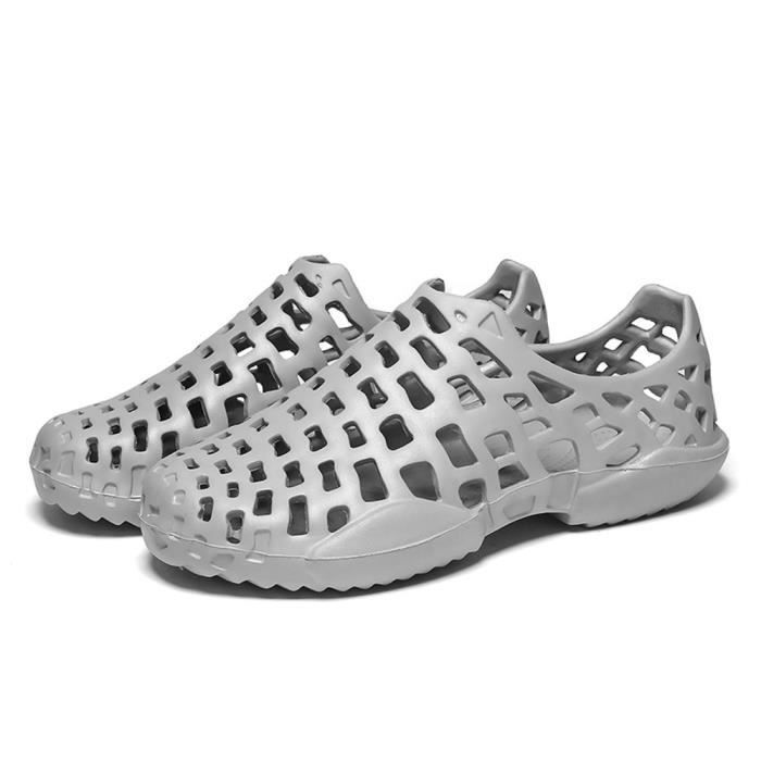 Hommes Unisexe Tongs Sandales Casual Reservece Plage Gris Couple Évider Chaussures pqxfwOdA