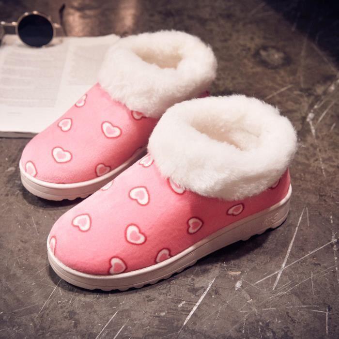 Chaud Flats Hiver Coeur Femmes De Neige En Chaussures Automne Chaussures motif Forme rose Bottes Jeffrey XZHaRZ