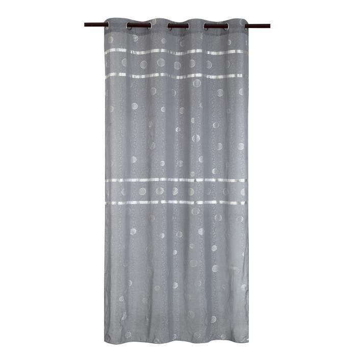 Matière : 100% polyester - Dimensions : 140x240 cm - Coloris : gris - Type d'attaches : 8 ŒilletsVOILE - VOILAGE