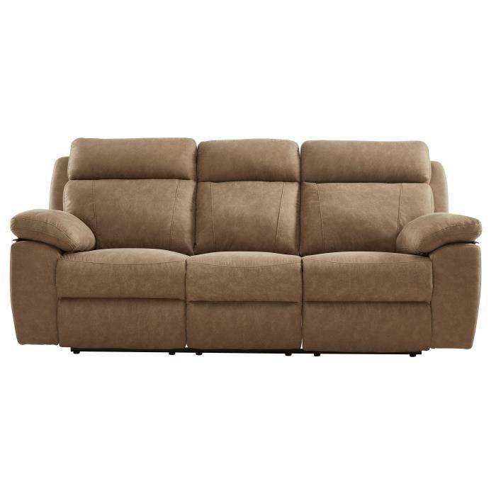 Relaxation droit - 3 places - Tissu effet nubuck - Classique - L 157 x P 54 cm - MŒlleuxCANAPE - SOFA - DIVAN