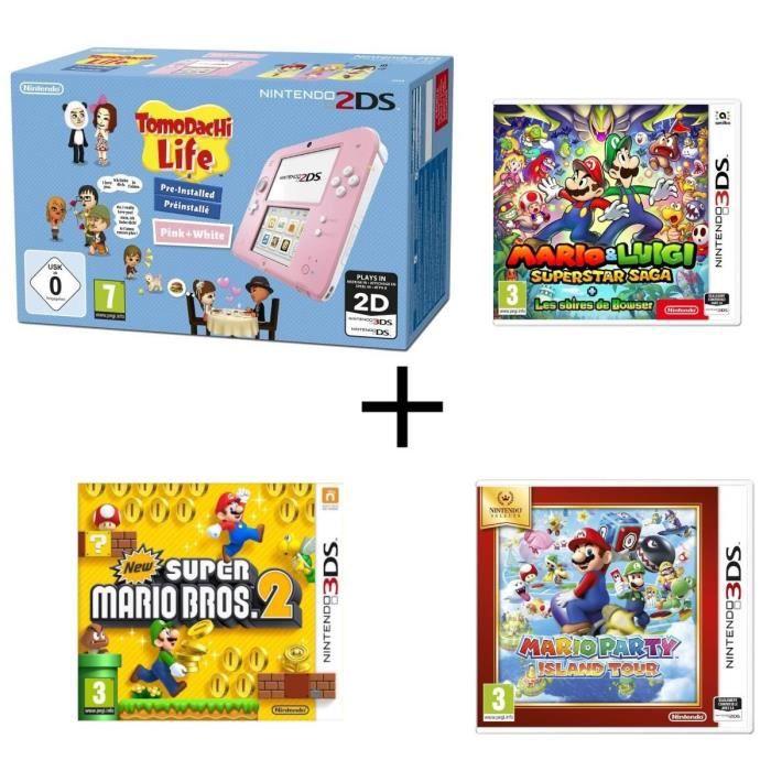 Nintendo 2ds tomodachi life mario luigi les sbires de bowser mario party island tour new super mario bros 2