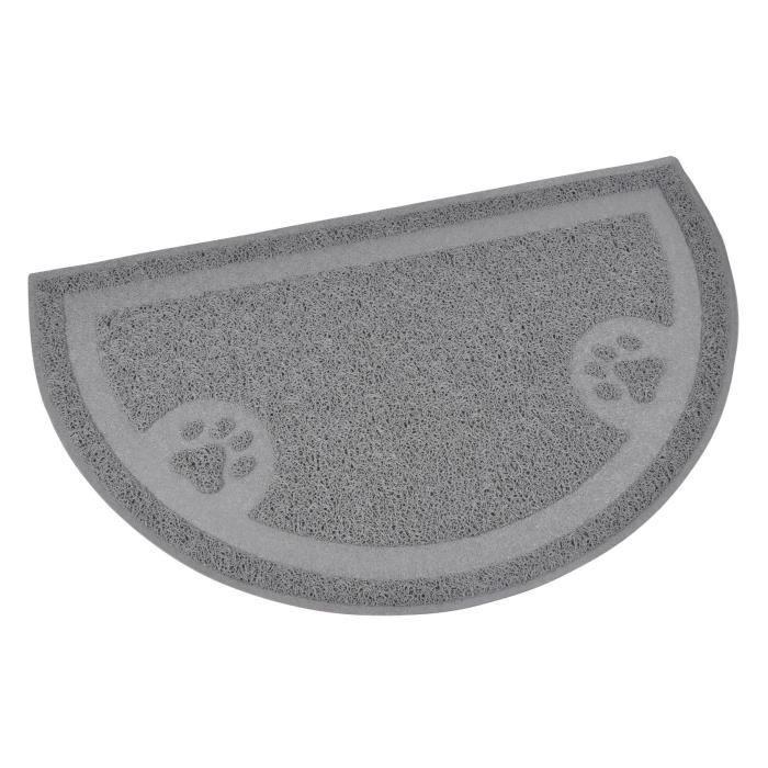 Tapis de litière PVC demi-cercle - 36x60 - Gris - Pour chat
