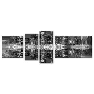CITY Tableau multi-panneaux 160x60 cm noir ville