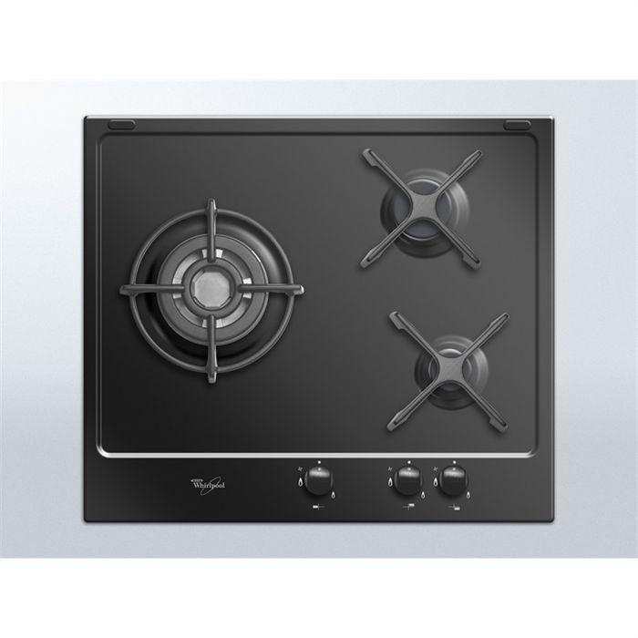 WHIRLPOOL AKT 653 NB Table de cuisson gaz-3 foyers-6350W-L59xP51cm-Revêtement email-Noir