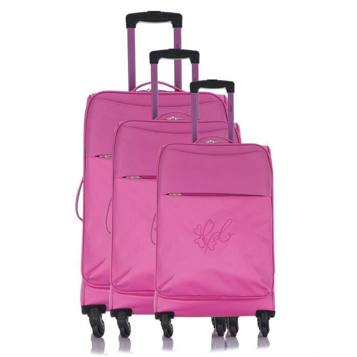 LES P'TITES BOMBES Set de 3 Valises Souple 4 Roues 50-60-69 cm ANAïS Pink