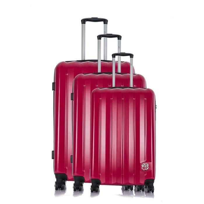 LES P'TITES BOMBES Set de 3 Valises Rigide Polycarbonate 4 Roues 50-60-70 cm ALISON Pink