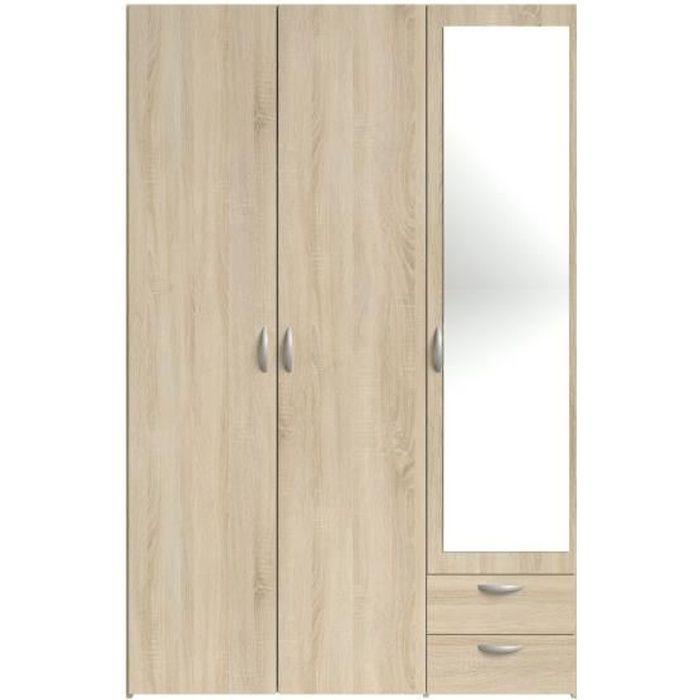 VARIA Armoire 3 portes miroir décor chêne - L 120 x P 51 x H 185 cm