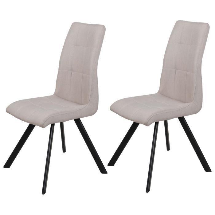 COSY Lot de 2 chaises de salle à manger pieds métal noir - Revêtement tissu taupe - Style contempora