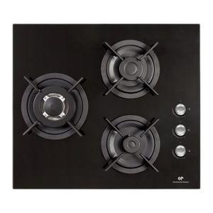 CONTINENTAL EDISON CTG3VB - Table de cuisson gaz-3 foyers-L59,4xP52,3cm-Rev?tement verre-Noir
