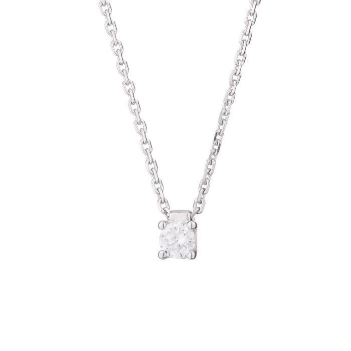 MONTE CARLO STAR - Collier Clou en Or Blanc 18 Carats et Diamant - Femme