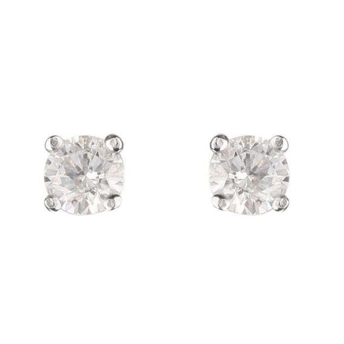 MONTE CARLO STAR Boucles d'oreilles Or Blanc 750° et Diamants 0. 40 cts Femme