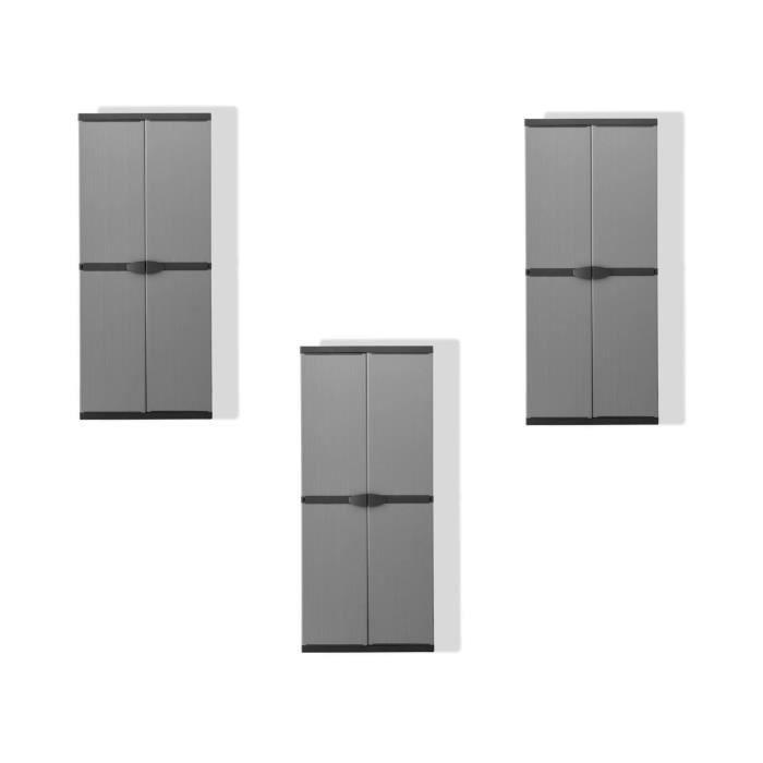 TOOD Lot de 3 armoires hautes de rangement 3 tablettes en résine