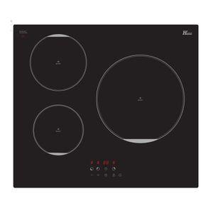 HUDSON HIN3ZB - Table de cuisson vitrocéramique - 3 foyers - 6500W - L59 x P52cm - Rev?tement verre - Noir