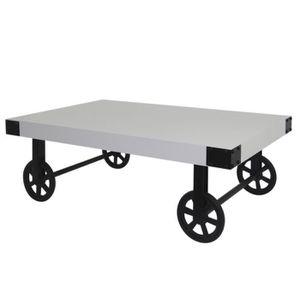 TABLE BASSE LOFT Table basse sur roulettes vintage en bois pin