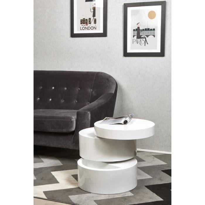Mat 50 Contemporain L Table X Basse Vigan Style Ronde Cm Blanc 8Onwk0P