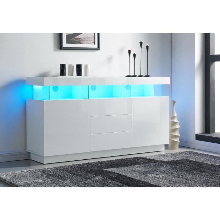 LIGHT Buffet contemporain laqué blanc brillant - L 160 cm - Achat ...