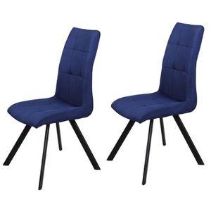 CHAISE COSY Lot de 2 chaises de salle à manger - Tissu bl