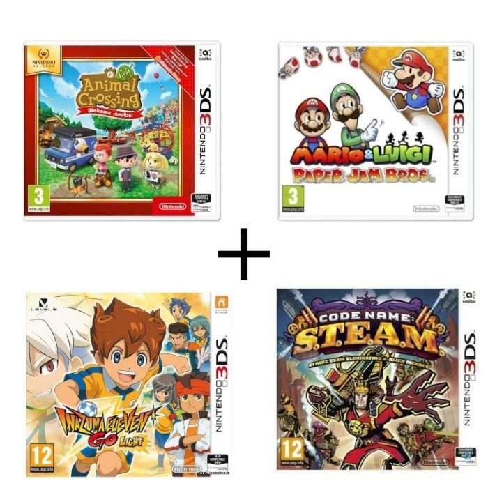 Pack 4 jeux 3DS : Animal Crossing New Leaf Welcome Amiibo + Mario