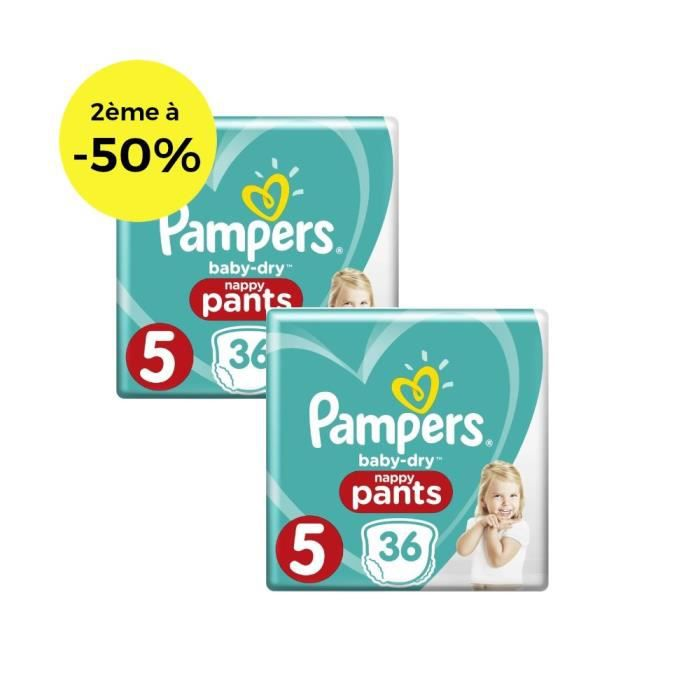 COUCHE PAMPERS Baby Dry Pants Géant T5 X36 Lot de 2