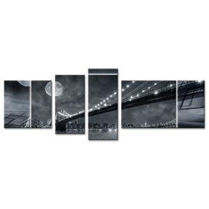 TABLEAU - TOILE MOON Tableau multi panneaux 160x60 cm noir ville
