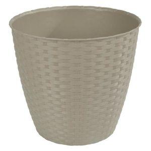 JARDINIÈRE - POT FLEUR  Pot rond tressé en plastique Ø29cm - Taupe