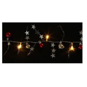 GUIRLANDE LUMINEUSE INT Guirlande de Noël boules et étoiles - 10 LED blanc
