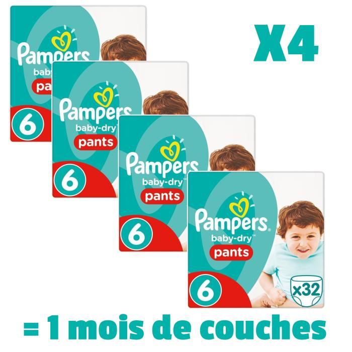 COUCHE PAMPERS BABY DRY PANTS Taille 6 - 128 couches - Pa