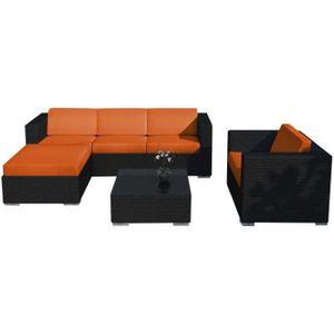 Salon de jardin 6 éléments en résine noire coussins orange • Mobilier ...