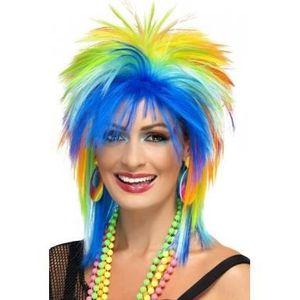 CHAPEAU - PERRUQUE Perruque multicolore années 80 femme