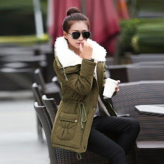 Longue Armée Décolleté Veste Winter Xxl70922493ag Verte Outwear Slim Manteau Femmes Parka Manteaux coat3328 Fourrure 5RntwPIxq