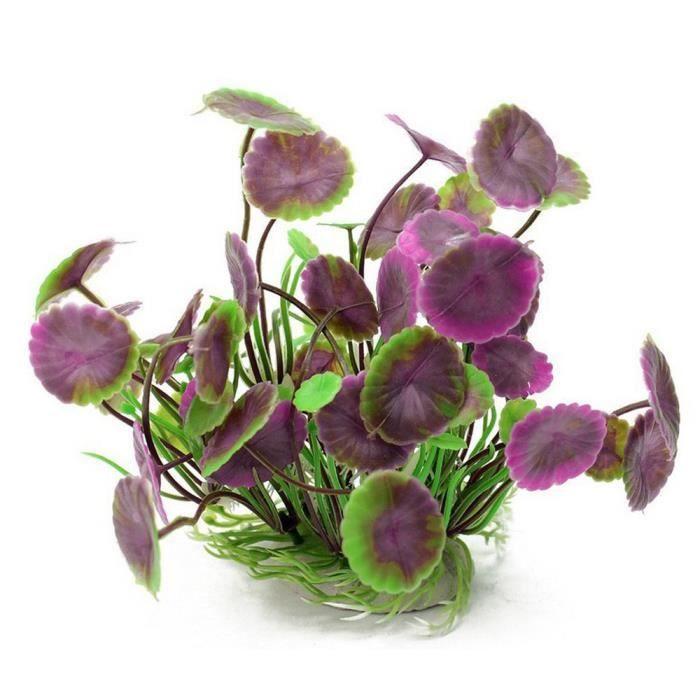Simulation Aquatique En Plastique Lotus Feuille Herbe Violet_sous Meuble - Pied Pour Aquarium Terrarium Vivarium_wosahamv196