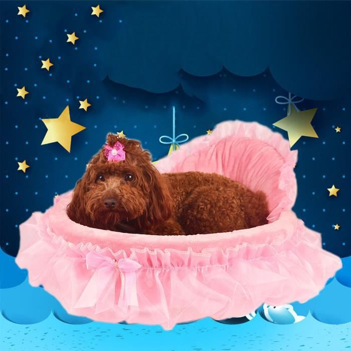 Ouniondo® Chien Pet Princesse Bows Coeur De Dentelle Élégante Belle Lit Doghouse Chaud Bed_poi819