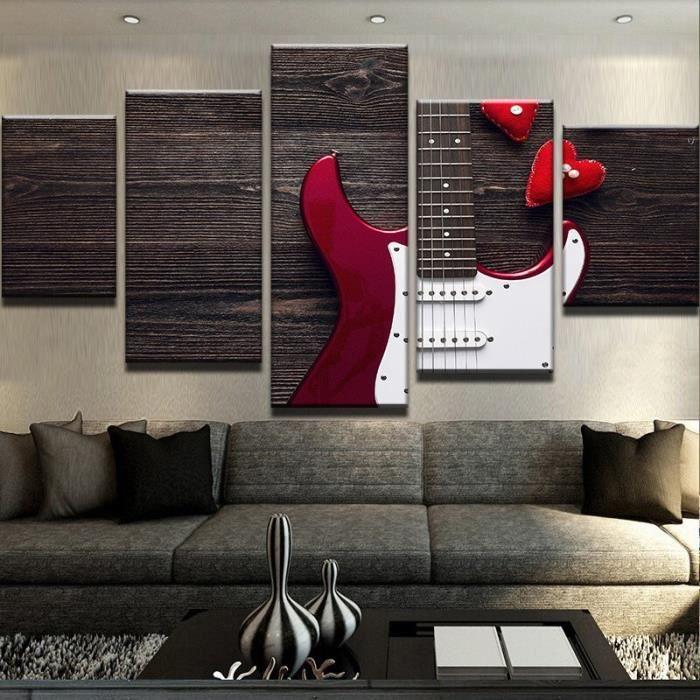 Attrayant Peinture Moderne Toile Applique Art Décoration Intérieure 5 Panneaux Belle  Guitare Pour Salon Sans Cadre 150cm(Unframed)