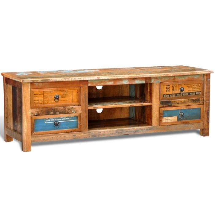 meuble tv en bois recycl color achat vente meuble tv. Black Bedroom Furniture Sets. Home Design Ideas