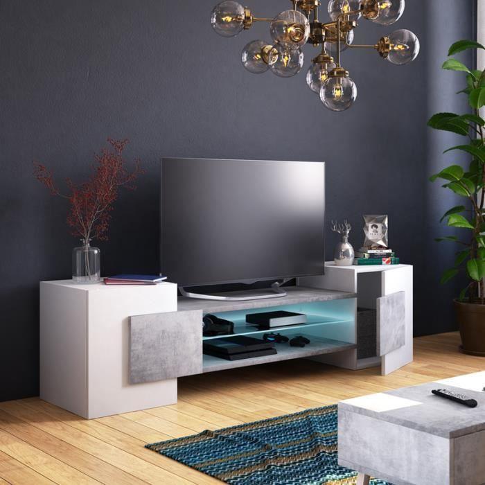 Meuble TV / Meuble de salon - CHARLES - 160 cm - blanc mat / béton ...