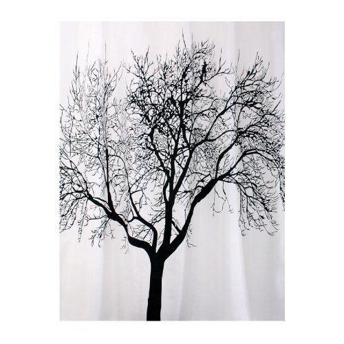 bisk rideau de douche blanc motif arbre noir 180 x 200 cm. Black Bedroom Furniture Sets. Home Design Ideas
