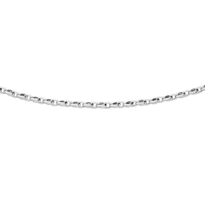 DIAMANTLY Collier mailles lisses striees or gris 375-1000 - 45.0 cm