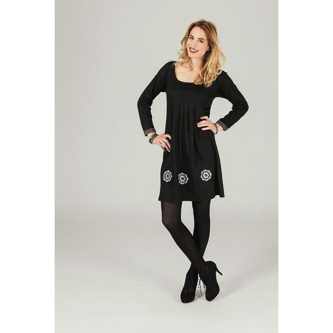79f15795311 Robe courte en coton à manches longues col carré plissé sous poitrine