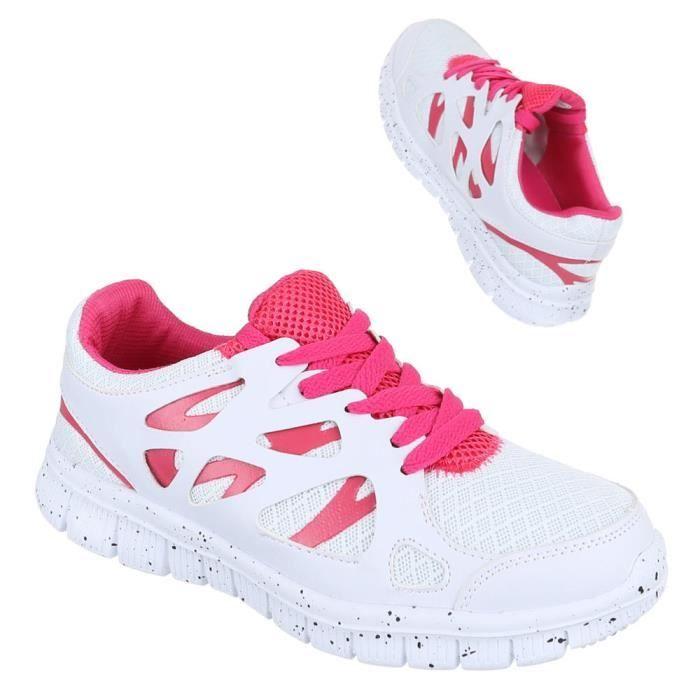 bordeaux 36 Sneakers Rose noir Sport Femme Loisirs Chaussures Blanc De Blanc F011zaq