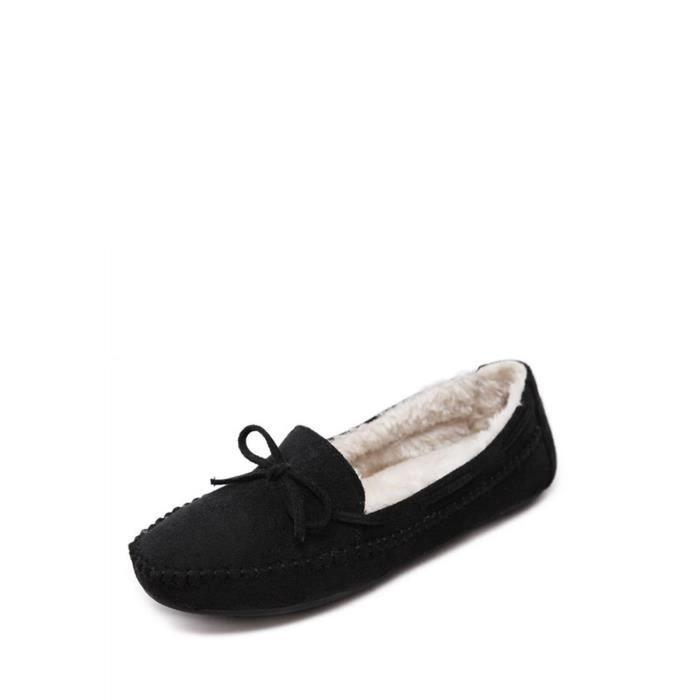 Mocassins Appartements Femmes Fashion Square Toe chaud bowknot Décor sélectionl Comfy Chaussures 10465654