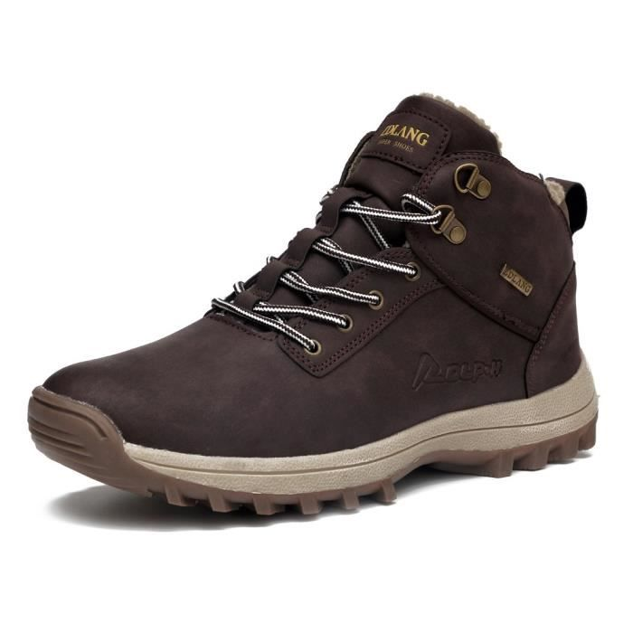 Bottes de neige en cuir pour hommes à lacets Sneakers cheville Chaussures montantes hiver avec doublure en fourrure QF9WM Taille-39 ziBNNI
