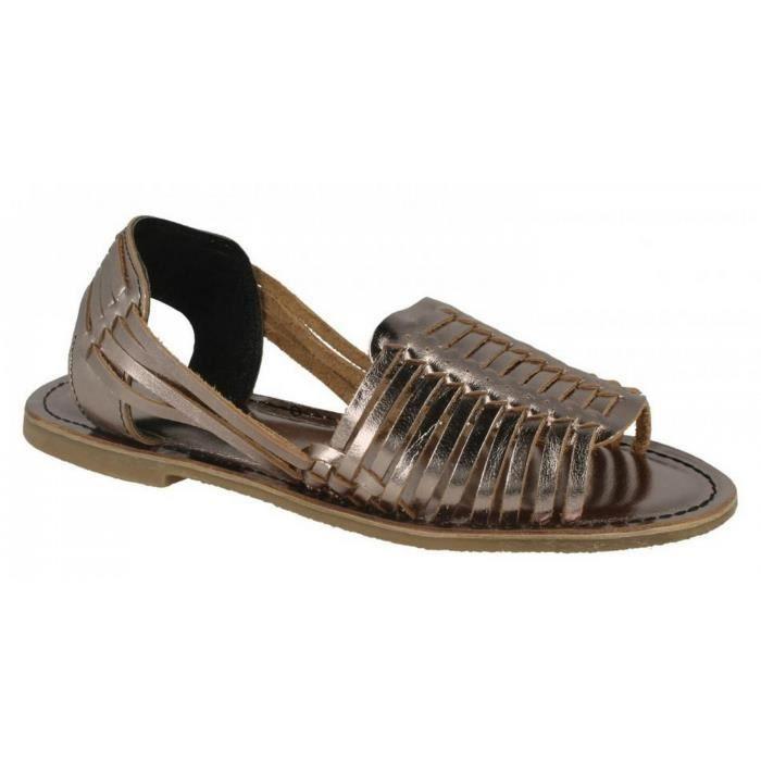 marron Bronze naturel brun Sandales Leather Collection Femme noir En blanc Cuir qFwHxzwX