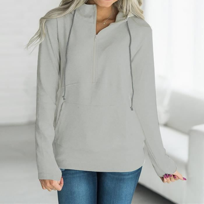 Chemisier Fermeture Ligth Mode Gris À Longues Glissière Pull Femmes Manches Sweat Casual Solide Jumper pwFPY