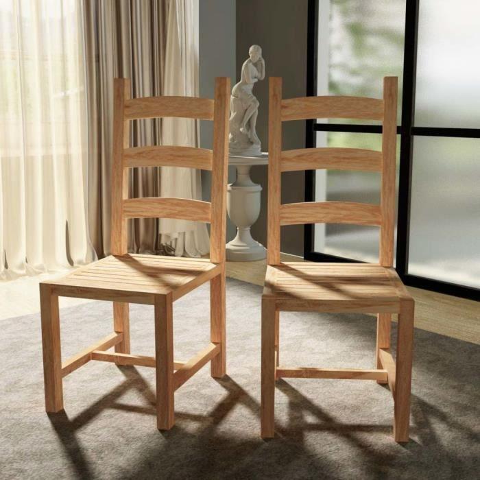 4 Pcs Chaise En Teck De Salle A Manger Style Naturel 45 5x53x111 Cm