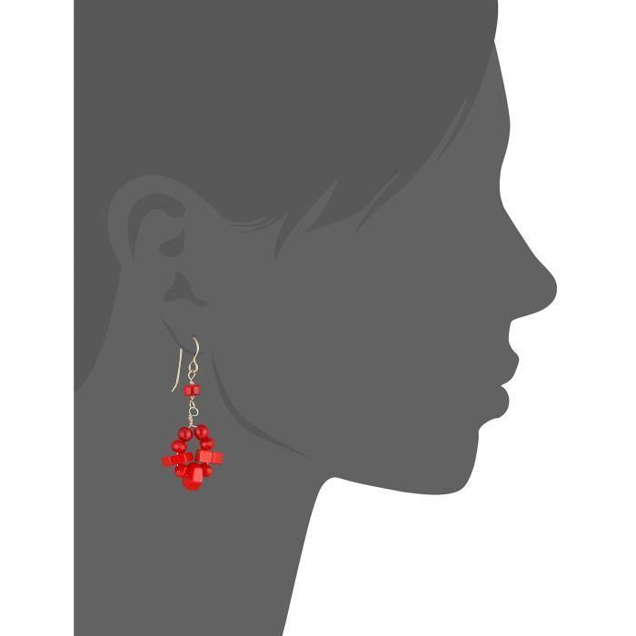Red Sea Bamboo Drop Earrings Z1AY2