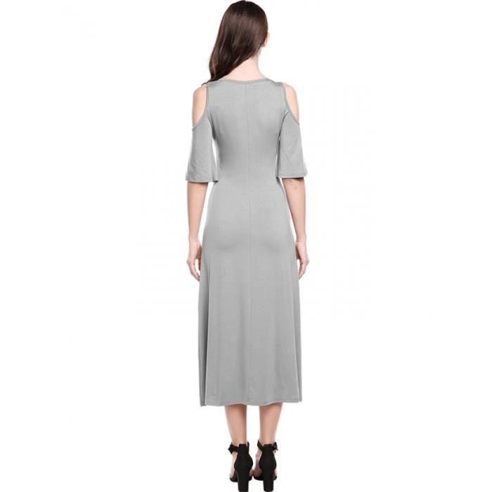 robe Maxi femmes O-cou Casual manches de Flare demi solide au large de l'épaule élastiques