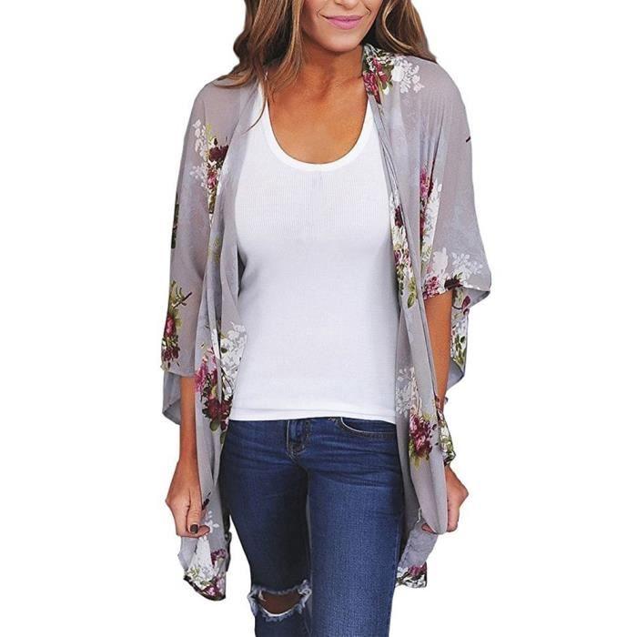 App4801 Kimono Top Femmes Up En Chemisier De Cardigan Châle Vrac Soie Cover Mousseline Imprimer Beachwear T06wxT1