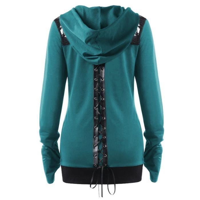 Capuche Dos Casual shirt Chemisier Sweat Le Up À Vert Manches Top Zip T Bandage Hhq81203475gn Dans Lacé Femmes Longues SPawgxq