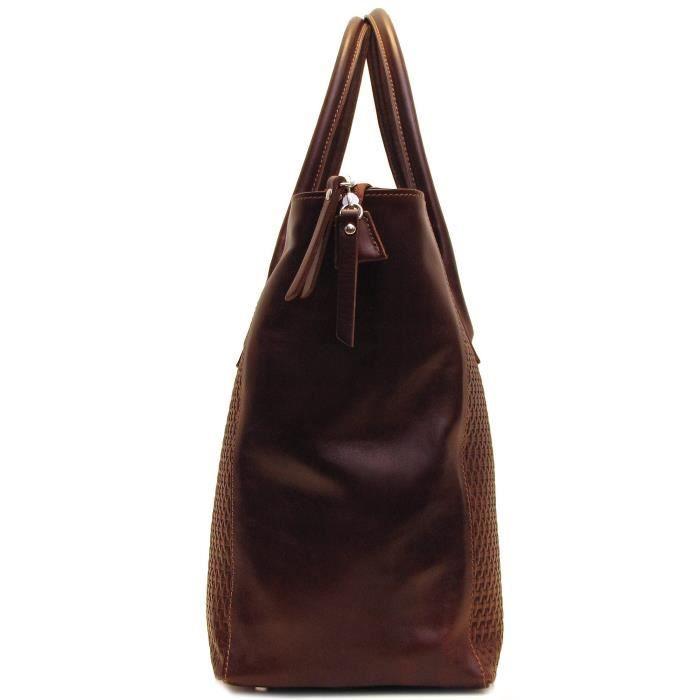 Firenze épaule sac fourre-tout en cuir estampé tissé D8N0P