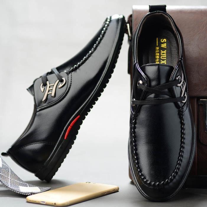 Pour Homme Décontractée Chaussures Conduite Souple Noir H809744 De Cuir En Derbies Mode D'affaires zWSFBqvHH